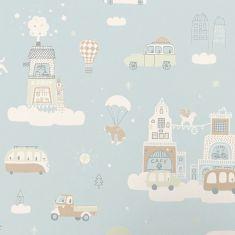 Papier peint motif nuage pour enfant bleu clair