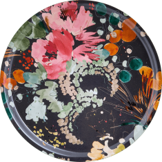 plateau bois motif fleur