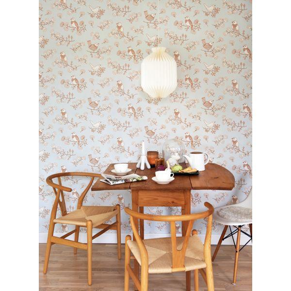 papier peint r tro scandinave 100 naturel. Black Bedroom Furniture Sets. Home Design Ideas