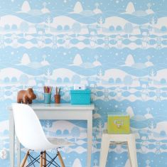 papier peint graphique chambre enfants bleu