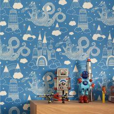 papier peint dragon château bleu