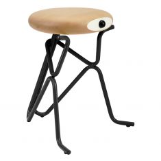 tabouret scandinave noir assise bois bouleau