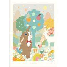 affiche chambre bébé lapin pastel