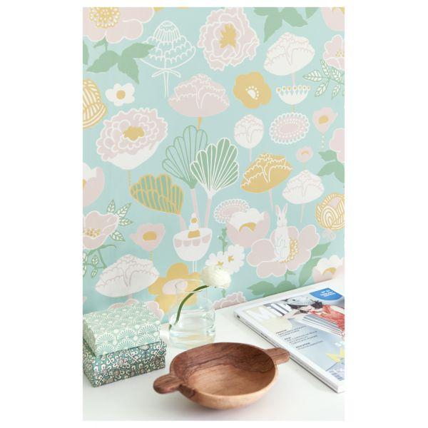 papier peint motif vintage fleuri au style 70 s. Black Bedroom Furniture Sets. Home Design Ideas