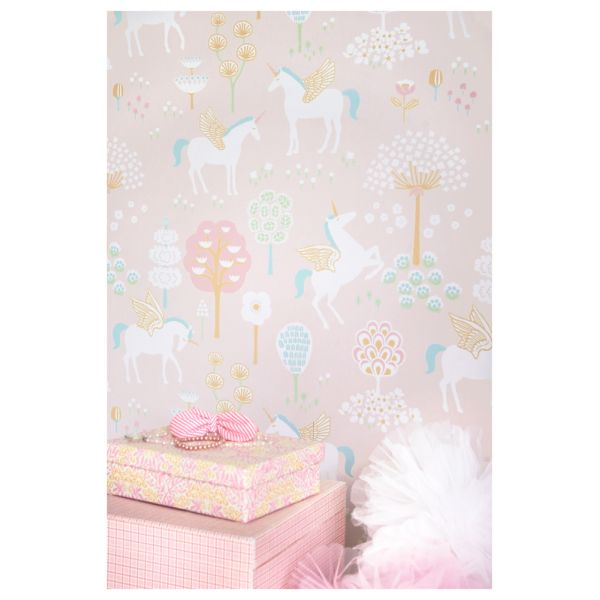 papier peint licorne chambre b b fille design cologique et po tique. Black Bedroom Furniture Sets. Home Design Ideas