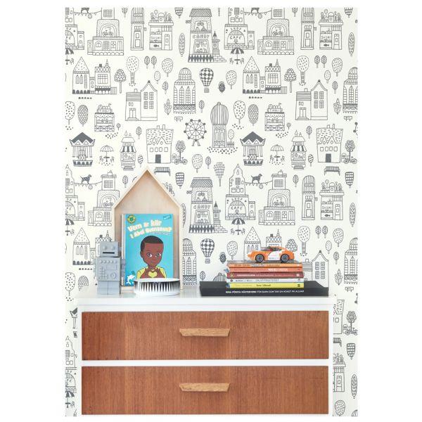 papier peint graphique pour d corer la chambre d enfants. Black Bedroom Furniture Sets. Home Design Ideas