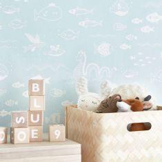 papier peint poissons chambre d'enfant
