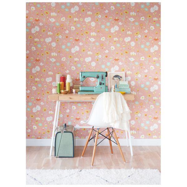 Papier Peint à Fleurs Années Contemporain - Papier peint romantique chambre