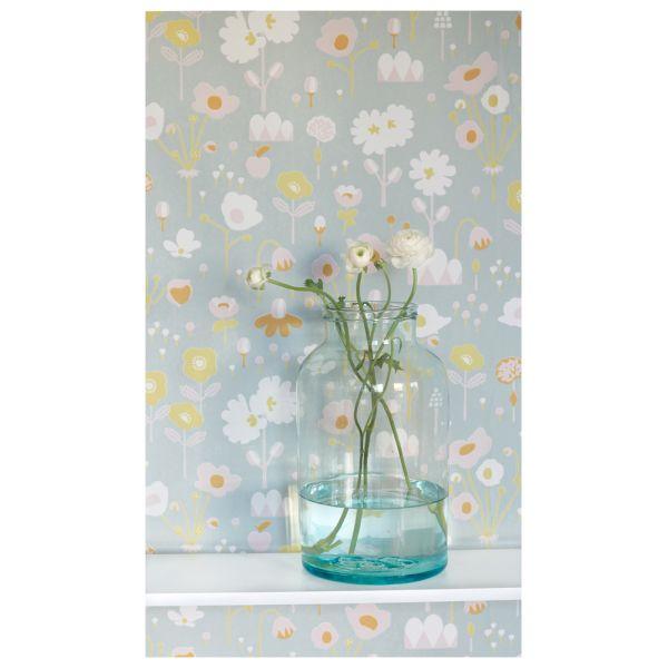 papier peint fleurs ann es 70 contemporain. Black Bedroom Furniture Sets. Home Design Ideas