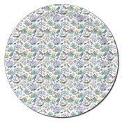 plateau circulaire motifs oiseaux et fleurs