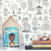 papier peint romantique chambre enfant pastel
