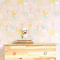papier peint rose vintage chambre filles