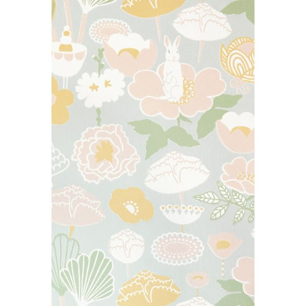Papier peint motif vintage fleuri au style 70 s - Papier peint style nordique ...