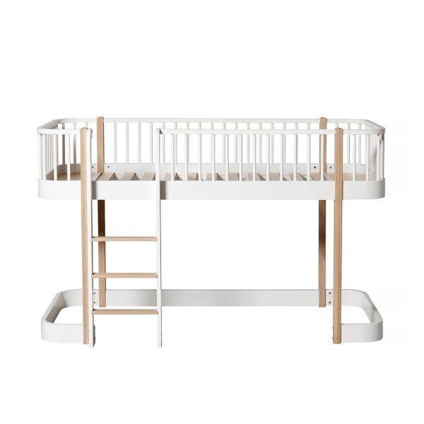 Lit mezzanine enfant design en bois massif oliver furniture - Lit mi hauteur bois massif ...