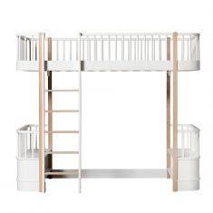 Lit mezzanine Wood Oliver Furniture blanc avec pieds en chêne