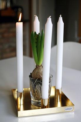 Bougeoir suédois avec plateau et porte-bougies magnétiques